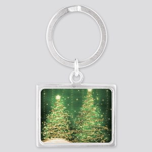 Sparkling Christmas Trees Green Landscape Keychain