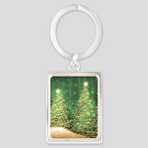 Sparkling Christmas Trees Green Portrait Keychain