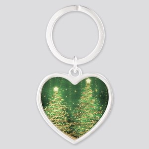 Sparkling Christmas Trees Green Heart Keychain