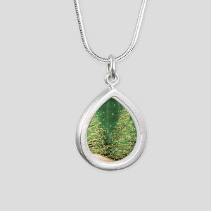 Sparkling Christmas Tree Silver Teardrop Necklace