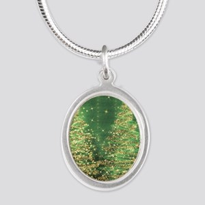 Sparkling Christmas Trees Gre Silver Oval Necklace