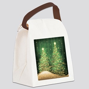 Sparkling Christmas Trees Green Canvas Lunch Bag