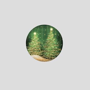 Sparkling Christmas Trees Green Mini Button