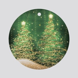 Sparkling Christmas Trees Green Round Ornament