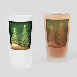 Sparkling Christmas Trees Green Drinking Glass