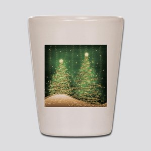 Sparkling Christmas Trees Green Shot Glass