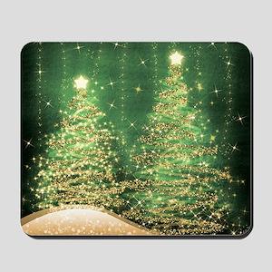 Sparkling Christmas Trees Green Mousepad