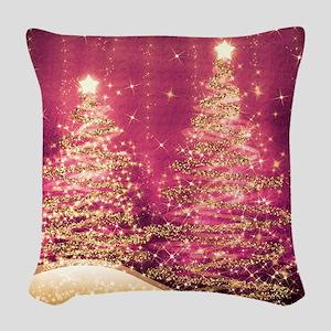 Sparkling Christmas Trees Pink Woven Throw Pillow