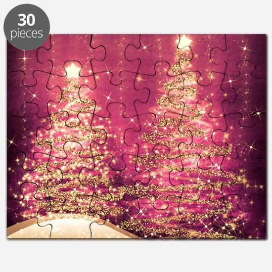 Sparkling Christmas Trees Pink Puzzle