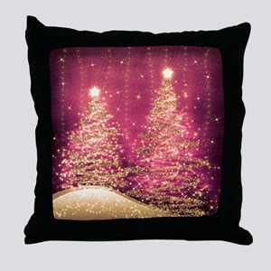Sparkling Christmas Trees Pink Throw Pillow
