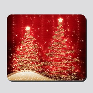 Sparkling Christmas Trees Red Mousepad