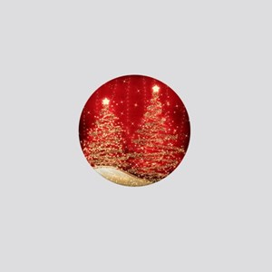 Sparkling Christmas Trees Red Mini Button