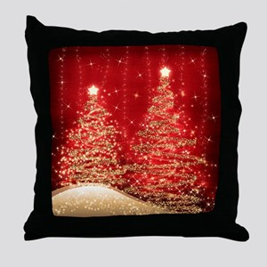 Sparkling Christmas Trees Red Throw Pillow