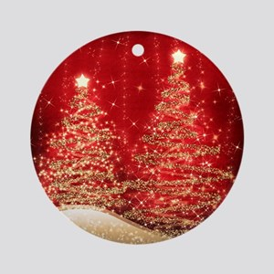 Sparkling Christmas Trees Red Round Ornament