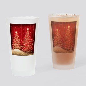 Sparkling Christmas Trees Red Drinking Glass