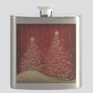 Sparkling Christmas Trees Red Flask