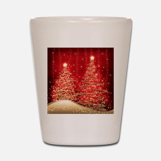 Sparkling Christmas Trees Red Shot Glass