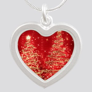 Sparkling Christmas Trees Re Silver Heart Necklace