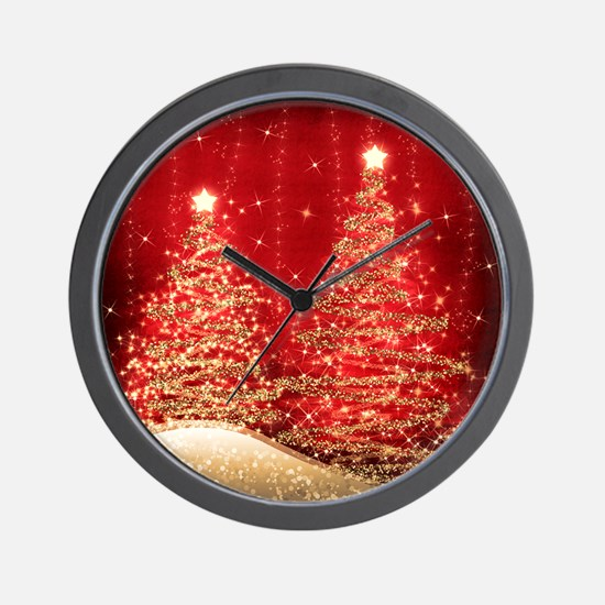 Sparkling Christmas Trees Red Wall Clock
