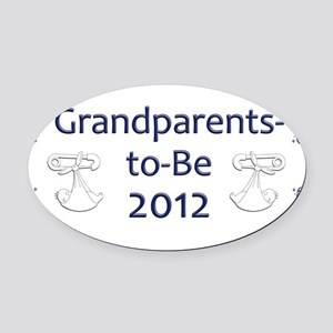Yard_Grandparents-to-be-12 Oval Car Magnet