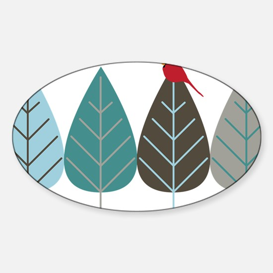 wintertreeandbird Sticker (Oval)