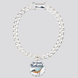 Red breasted nuthatch Charm Bracelet, One Charm