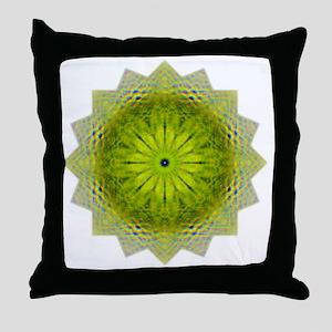 Green Flower Heart Chakra Mandala Yog Throw Pillow
