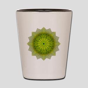 Green Flower Heart Chakra Mandala Yoga  Shot Glass