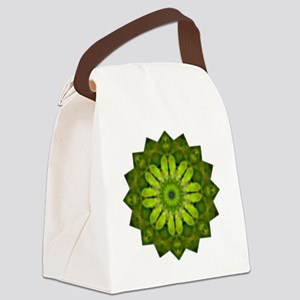 Green Flower Heart Chakra Mandala Canvas Lunch Bag