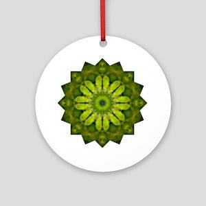 Green Flower Heart Chakra Mandala Y Round Ornament