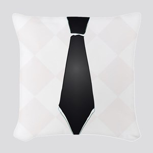 Black tie preppy Woven Throw Pillow