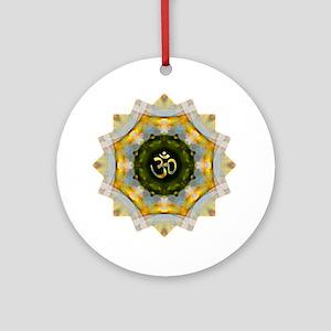 Gold Green Yoga Om Mandala Shirt Round Ornament