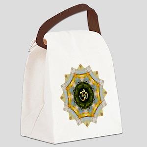 Gold Green Yoga Om Mandala Shirt Canvas Lunch Bag