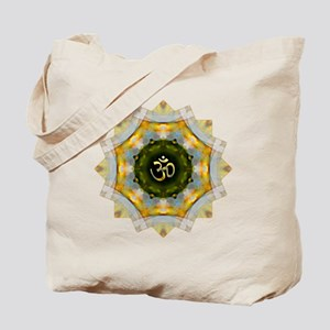 Gold Green Yoga Om Mandala Shirt Tote Bag