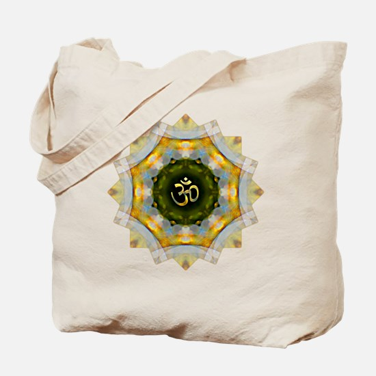 Gold Green Yoga Om Mandala Shirt Tote Bag