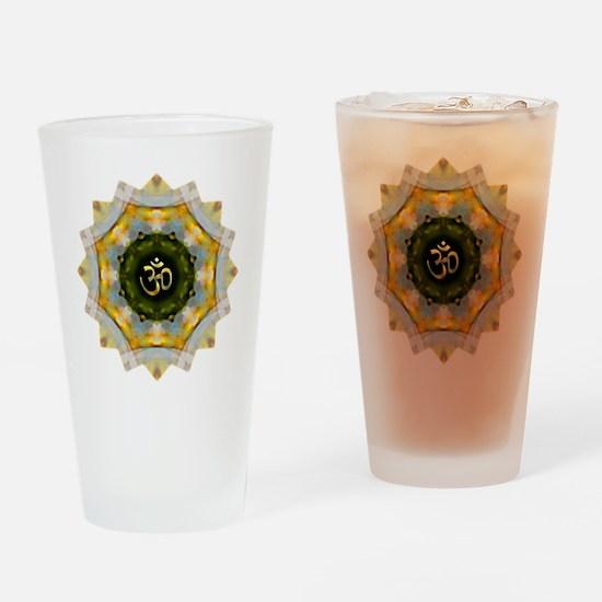 Gold Green Yoga Om Mandala Shirt Drinking Glass