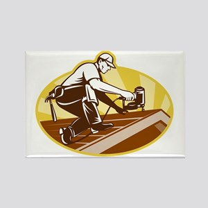 Roofer Roofing Worker Working on  Rectangle Magnet