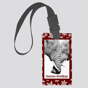 Xmas Card Entwined (snow) red Large Luggage Tag
