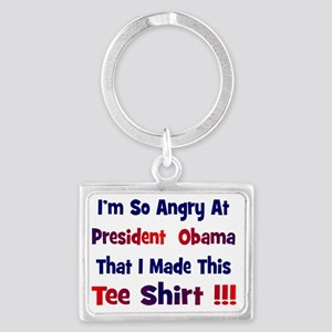 Angry at Obama Landscape Keychain