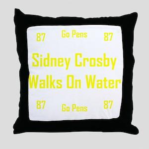 Sidney Crosby Walks On Water BW Throw Pillow