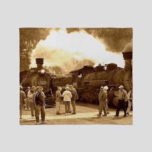 Antique Trains Throw Blanket