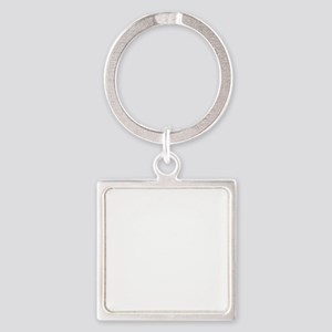 white, fastpitch Square Keychain