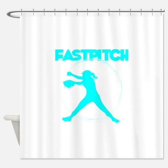lt blue, fastpitch Shower Curtain