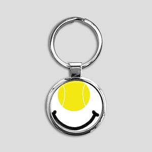 FBC Tennis Smile Black Round Keychain