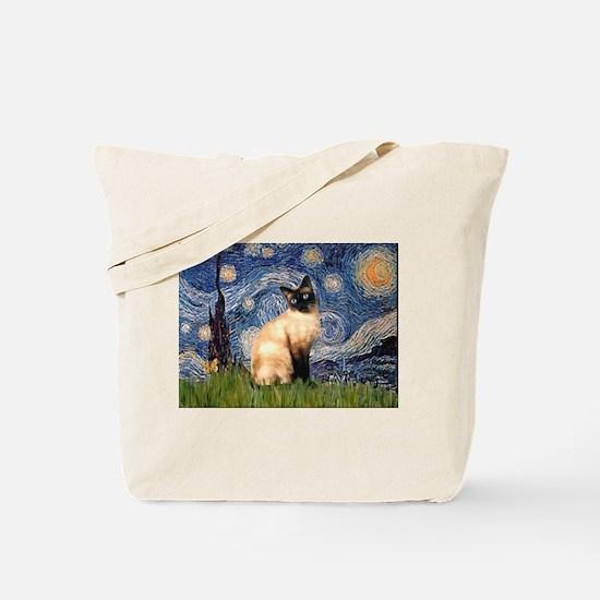 Starry Night Siamese Tote Bag