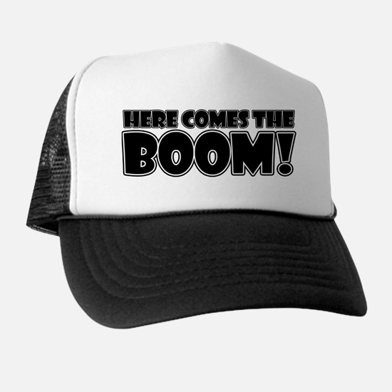 Here Comes the Boom (white) Trucker Hat