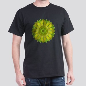 Gold Green Heart Chakra Mandala Yoga  Dark T-Shirt