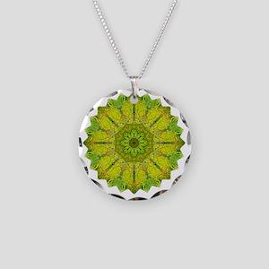 Gold Green Heart Chakra Mand Necklace Circle Charm