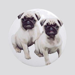 two pugs sitting Round Ornament