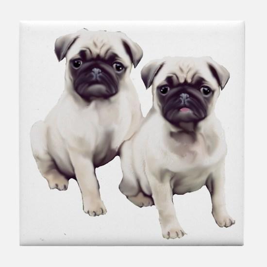 two pugs sitting Tile Coaster